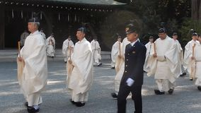 Shinto priests stock footage