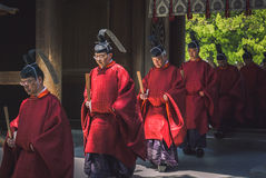 Shinto priests in Tokyo royalty free stock photography