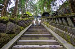Shinto Priests at Toshogu shrine. Shinto priests ascend stairs at Toshogu shrine. The shrine holds the mausoleum of Tokugawa Ieyasu, founder of the Tokugawa stock image