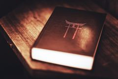 Shinto Religion Book. Ethnic Religion of the People of Japan. Shinto Ancient Religion Book Closeup Stock Photography