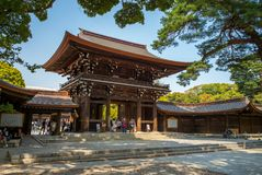 Meiji Shrine and the adjacent Yoyogi Park in Tokyo. Is the Shinto shrine that is dedicated to the deified spirits of Emperor Meiji and his wife, Empress Shoken stock image