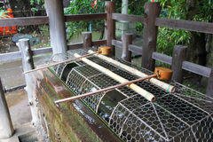 Shinto shrine ladles Royalty Free Stock Photo