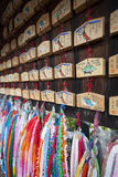 Shinto Shrine Prayer Tablets and Origami Cranes Stock Image
