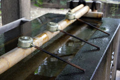 Shinto shrine purication basin. Royalty Free Stock Images