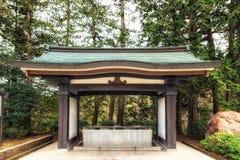 Shinto water ablution pavilion. & x28;known as Temizuya& x29; for a ceremonial purification rite, known as temizu, located at Shinshoji temple narita, Japan Royalty Free Stock Photo