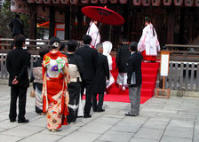Shinto wedding. Shinto religious wedding ceremony. Browse my Japanese landmarks collection. Browse my complex Medieval characters collection royalty free stock images
