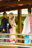Shinto Wedding Bride Groom Priest Kimonos Stock Photography