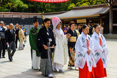 Shinto wedding at Meiji Shrine in Tokyo Royalty Free Stock Photos