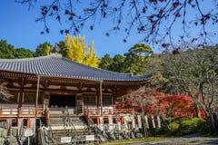 Shintoistischer Schrein mit Herbstbäumen lizenzfreie stockfotos