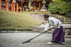 Shintopriester Attending Zen Garden Royalty-vrije Stock Afbeeldingen