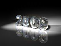 Shiny 2009 illustration. Shiny metallic numbers 2009 with shadows on a black and white background Royalty Free Stock Photography