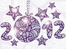 Shiny 2012 with  christmas ball. And stars around, doodle, ethnic style, hand drawn Stock Images