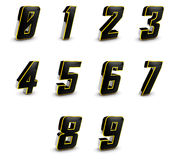 Shiny 3D Digits. Shiny Black 3d digits with golden touch Royalty Free Stock Photo