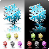 Shiny 3d snowflake button set. Royalty Free Stock Photography