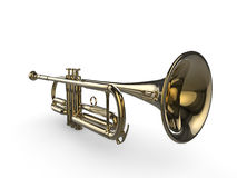 Shiny 3d trumpet Stock Images
