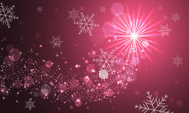 Shiny abstract  background with glitter, snowflakes and stars. Royalty Free Stock Image