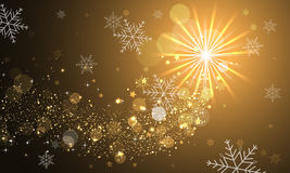 Shiny abstract  background with glitter, snowflakes and stars. Stock Image