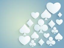 Shiny ace cards symbols for Casino. Shiny ace playing cards symbols on blue background for Casino Royalty Free Stock Photos