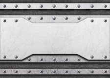 Steel metal plates on black brushed background Stock Image