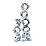 Shiny anodized hex nuts Royalty Free Stock Images
