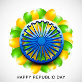 Shiny Ashoka Wheel for celebrating Happy Indian Republic Day. Royalty Free Stock Photography