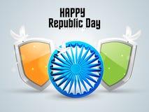 Shiny Ashoka Wheel with winning shield  for Indian Republic Day celebration. Royalty Free Stock Images