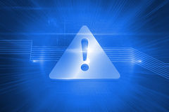 Shiny attention icon on blue background Royalty Free Stock Photos