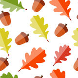 Shiny Autumn Natural Leaves Seamless Pattern Stock Image