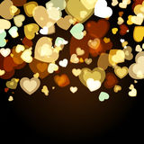 Shiny background with abstract glowing hearts. Vector holiday ba Royalty Free Stock Images