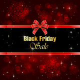 Shiny background Black Friday Sale. With blurry lights and red bow, illustration royalty free illustration