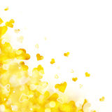 Shiny background of golden lights and hearts Royalty Free Stock Photos