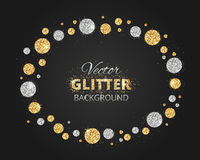 Shiny background with golden and silver glitter dots decoration. And space for text. Glitter frame, great for christmas and birthday cards, wedding invitation Royalty Free Stock Photos