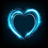 Shiny background with heart. Shiny heart-shaped frame on black background. Holiday vector illustration Stock Photos
