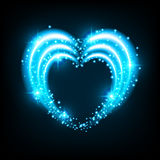 Shiny background with heart. Shiny heart-shaped frame on black background. Holiday vector illustration Stock Photography