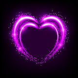 Shiny background with heart. Shiny heart-shaped frame on black background. Holiday vector illustration Stock Photo