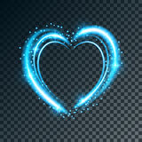 Shiny background with heart. Shiny heart-shaped frame on transparent background. Holiday vector illustration Royalty Free Stock Photos