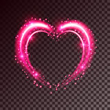 Shiny background with heart. Shiny heart-shaped frame on transparent background. Holiday vector illustration Stock Images