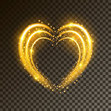 Shiny background with heart. Shiny heart-shaped frame on transparent background. Holiday vector illustration Stock Photo