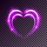 Shiny background with heart. Shiny heart-shaped frame on transparent background. Holiday vector illustration Royalty Free Stock Images
