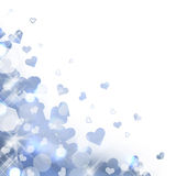 Shiny background of pastel blue lights and hearts Royalty Free Stock Photo