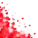 Shiny background of red lights and hearts Royalty Free Stock Photography