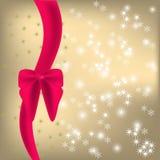 Shiny background  red ribbon and bow. Shiny background with sparkles and red ribbon and bow Stock Photography