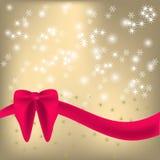 Shiny background  red ribbon and bow. Shiny background with sparkles and red ribbon and bow Royalty Free Stock Photos