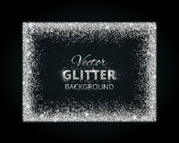 Shiny background with silver glitter frame and space for text Stock Image