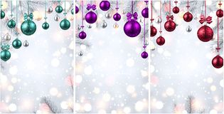 Shiny backgrounds with colorful Christmas balls. Shiny New Year backgrounds with fir branches and colorful Christmas balls. Vector illustration.rr Royalty Free Stock Photo