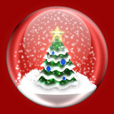 Shiny ball with Christmas tree inside. Glass ball on a red background royalty free illustration