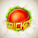 Shiny ball with 3D text for Cricket. 3D text Cricket with red ball and green grass on stylish grey background royalty free illustration