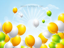 Shiny balloons in national tricolor for Indian Republic Day cele Stock Photography