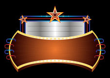 Shiny banner with stars. Illuminated marquee blank sign with stars Royalty Free Stock Image