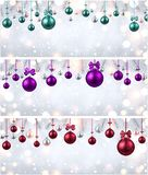 Shiny banners with colorful Christmas balls. Shiny New Year banners with fir branches and colorful Christmas balls. Vector rillustration.r Stock Photography
